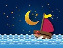 Vector of sailboat at night. Stock Photos