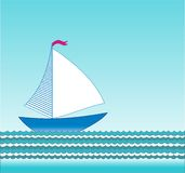 Vector sailing boat Stock Image
