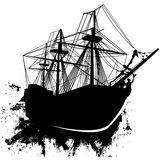 Vector sailing pirate ship in grunge style. Vector illustration of a sailing ship, perhaps a pirate ship, in grunge style riding a wave Royalty Free Stock Image