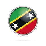 Vector Saint Kitts and Nevis flag in glass button style. Stock Photos