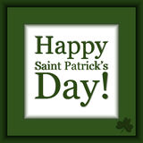 Vector Saint Patrick`s Day card. Saint Patrick`s Day card in green colors with shamrock Stock Photography