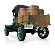 Vector Saint Patrick`s vintage beer truck. Vector vintage truck with beer barrels for Happy Saint Patrick`s Day Irish celebration design. Beer festival lettering stock illustration