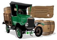 Vector Saint Patrick`s vintage cartoon beer truck stock illustration