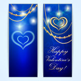 Vector Saint Valentine blue greeting card with Royalty Free Stock Photography