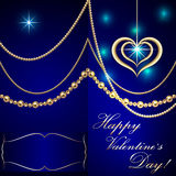 Vector Saint Valentine blue invitation card with Stock Images