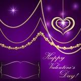 Vector Saint Valentine lilac invitation card with Stock Photos
