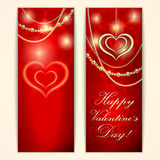 Vector Saint Valentine red greeting card with Stock Photos