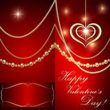 Vector Saint Valentine red invitation card with Royalty Free Stock Photography