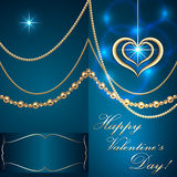 Vector Saint Valentine turquoise  invitation card Royalty Free Stock Photos