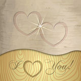 Vector Saint Valentines wooden background Stock Images