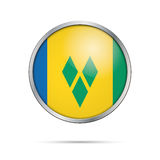 Vector Saint Vincent and the Grenadines flag in glass button sty Royalty Free Stock Image