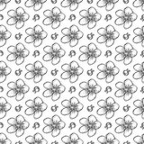 Vector sakura seamless pattern of flowers. Vector sketch art, hand drawn sakura seamless pattern of flowers and leaves isolated on white background Royalty Free Stock Photos