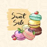 Vector sale background with colored hand drawn macaroons for pastry shop. Macaroon and cake vintage, colored confectionery illustration Stock Photos
