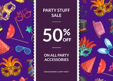 Vector sale background with masks and party accessories,. Vertical ribbon and place for text illustration Royalty Free Stock Images