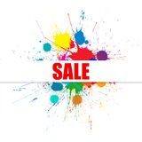 Vector Sale Banner With Bright Ink Color Blots Royalty Free Stock Images