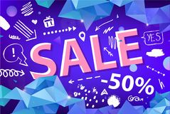 Vector sale banner, poster with hand drawn doodle elements. 3d origami facet shapes promo posters. Banners vector illustration