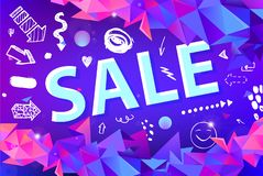 Vector sale banner, poster with hand drawn doodle elements. 3d origami facet shapes promo posters. Banners royalty free illustration