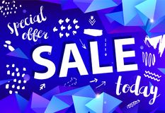 Vector sale banner, poster with hand drawn doodle elements. 3d origami facet shapes promo posters. Banners stock illustration