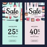 Vector sale banners for beauty shop with hand drawn makeup products backgrounds. Card illustration flat style Royalty Free Stock Photography