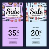 Vector sale banners for beauty shop with hand drawn makeup Royalty Free Stock Image