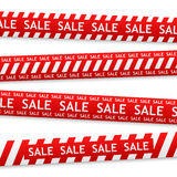 Vector sale bent sticker. Vector red bent sticker with white sale sign Royalty Free Stock Image