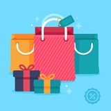 Vector sale concept in flat styled price tags stock illustration