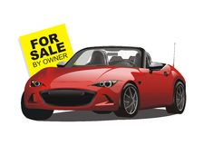 Vector of for sale convertible red sport car royalty free stock photos