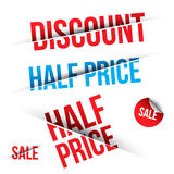 Vector SALE cut on Black and White background. Royalty Free Stock Images