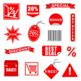 Vector Sale Elements Set 3. Red Vector Sale Elements for Business Royalty Free Stock Photos