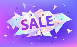 Vector sale facet crystal banner. 3d abstract shape poster, card. Advertising vector illustration