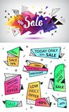 Vector sale faceted 3d banner, poster. Colorful illustration. Set of 90s style Royalty Free Stock Photo