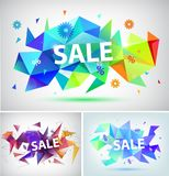 Vector sale faceted 3d banner, poster. Stock Image