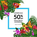 Vector sale frame with place for text with tropical palm leaves and exotic flower elements Stock Photos