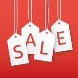 Vector sale illustration. Paper hanging price tags. Royalty Free Stock Image