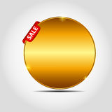 Vector sale label with red ribbon. Royalty Free Stock Photo