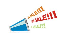 Vector on sale megaphone. White isolated vector of on sale from megaphone Stock Photo
