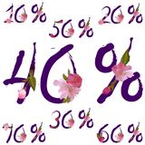 Vector sale percents with spring sakura flowers Stock Image