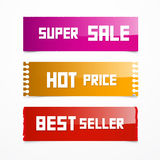 Vector Sale Pink, Orange and Red Labels Royalty Free Stock Photo
