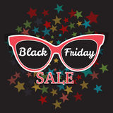 Vector sale poster advertising Black Friday. Sunglasses Black Friday sale. Stock Photos