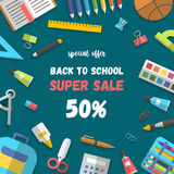 Vector sale poster, set of randomly arranged school supplies flat. Back to school sale poster or banner template flat design randomly arranged education icon set Stock Photos