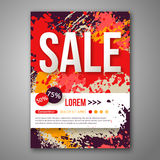 Vector Sale Poster Template with Watercolor Paint Stock Photography