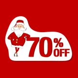 Vector sale sticker. Santa Claus and 70% off Royalty Free Stock Photo