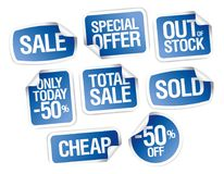 Vector sale stickers - out of stock, cheap, total sale Royalty Free Stock Photos