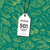 Vector sale tag mexican food stock illustration