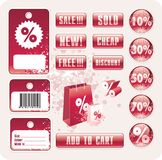 Vector sale tag stickers. Glossy buttons and banners with discount Royalty Free Stock Image