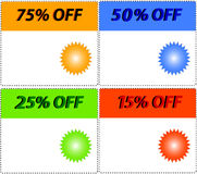 Vector. sale tag stickers with discount Royalty Free Stock Images