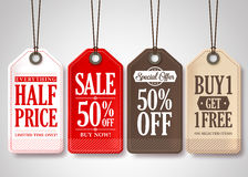Vector Sale Tags Design Collection Hanging with Different Colors Royalty Free Stock Photos