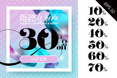 Vector Sale Template with Flying Silk on Polka Dot Pastel Backgr. Ound. Spring Elegant Advertising For Cloth Shop, Fabric Store, Web Banner, Pop-up, Poster Stock Image