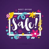 Vector sale template with funky hand drawn elements. Can be used for party, birthday, invitations and weddings. Stock Images