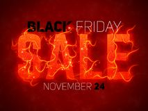 Vector Sale text with red fire flames background.. Vector Sale text with red fire flames background. Wavy threads from fiery letters. Hot Black friday sale Stock Image